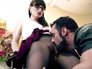 Luxurious shemale wearing glasses gets pounded harder than ever before