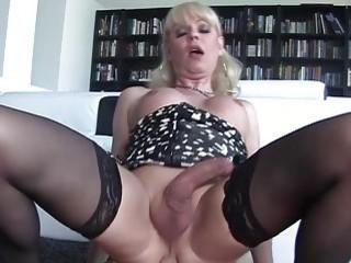 POV with mature blonde tranny Joanna Jet and big dick