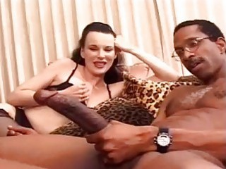 Raunchy big ass trannies have interracial threesome with hung stallion