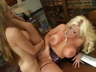Shemale chokes her busty friend and rams her tight pussy