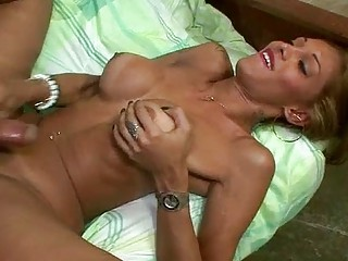 Buxom ladyboy and hung dude ass bang each other wildly