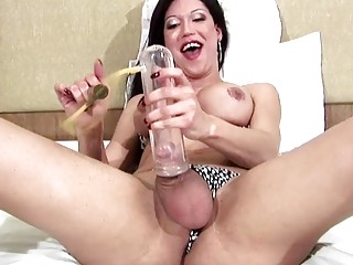 T-girl pumps her dick before fooling around