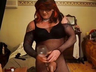 Horny big body shemale pisses and drinks it all up