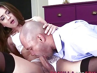 Teen dyke with small tits, crazy anal with her step dad