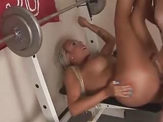 Amazing blonde shemale sucks him off before she's fucked