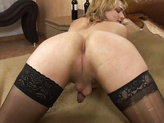 Blondie with nice titties shows off amazing ass and cock