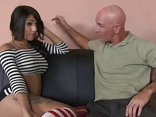 Adorable shemale wearing socks gets sucked and fucked just right
