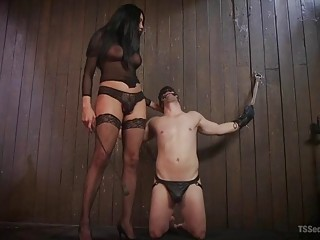 Asian tranny in stockings has fun with her slave