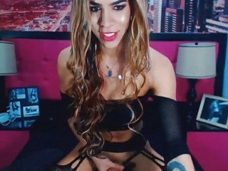 Pretty Tgirl with small tits jacks off on webcam solo
