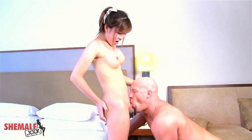 Cute young pale shemale gets her tight booty pounded hard